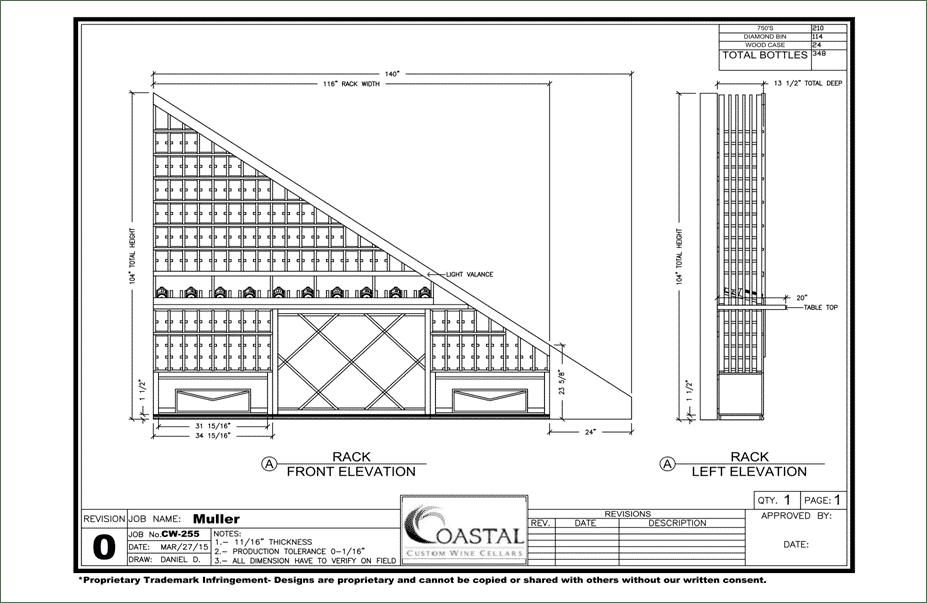 Playa Vista California wine cellar racks blueprint