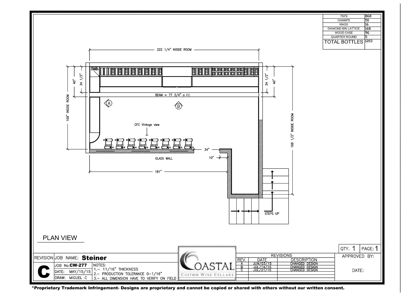Plan View Home Wine Cellar Design California
